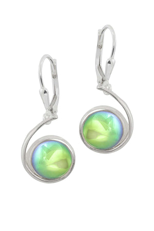 Sterling Silver-Wave Earrings-Green-Polished-Leightworks