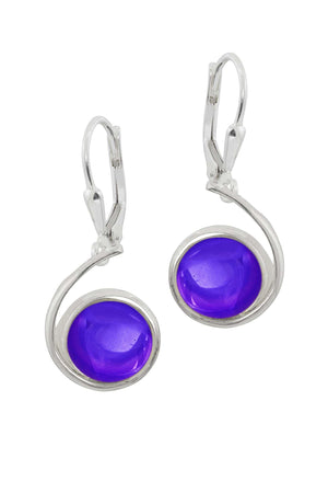 Sterling Silver-Wave Earrings-Violet-Polished-Leightworks