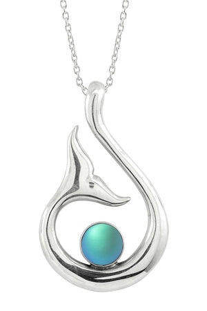 Sterling Silver-Whale's Tail Pendant-Necklace Charm-Aqua-Frosted-Leightworks