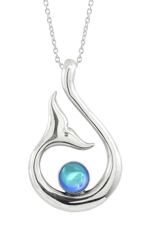 Sterling Silver-Whale's Tail Pendant-Necklace Charm-Aqua-Polished-Leightworks