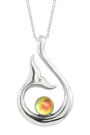Sterling Silver-Whale's Tail Pendant-Necklace Charm-Fire-Polished-Leightworks