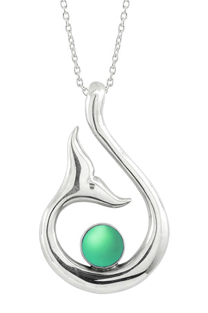 Sterling Silver-Whale's Tail Pendant-Necklace Charm-Green-Frosted-Leightworks