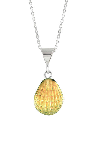 Sterling Silver-X-Small Scallop Pendant-Necklace Charm-Fire-Polished-Leightworks