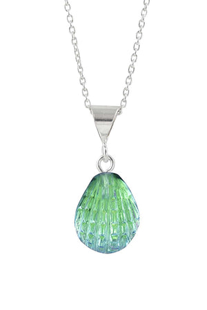 Sterling Silver-X-Small Scallop Pendant-Necklace Charm-Green-Polished-Leightworks
