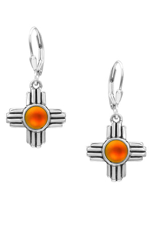 Sterling Silver-Zia Earrings-frosted-fire-Leightworks