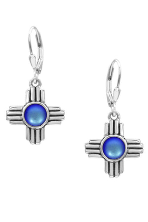 Sterling Silver-Zia Earrings-frosted-blue-Leightworks