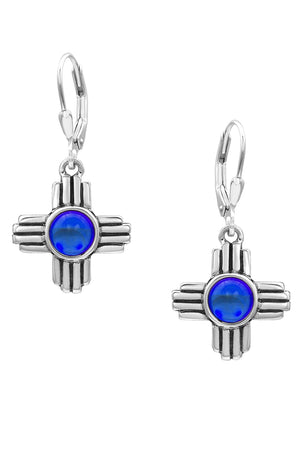 Sterling Silver-Zia Earrings-polished-blue-Leightworks