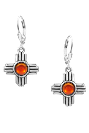 Sterling Silver-Zia Earrings-polished-fire-Leightworks