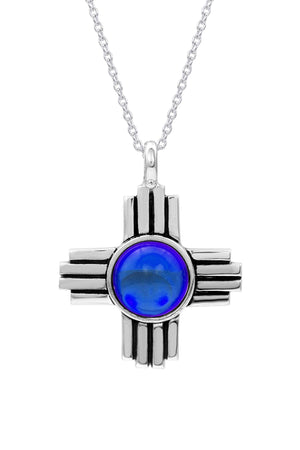 Sterling Silver-Zia Pendant-Necklace Charm-blue-polished-Leightworks