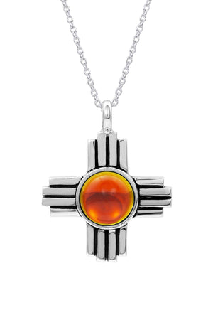 Sterling Silver-Zia Pendant-Necklace Charm-fire-polished-Leightworks