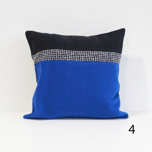 Upcycled Pillow Covers -Yellow & Blue & Black Pattern