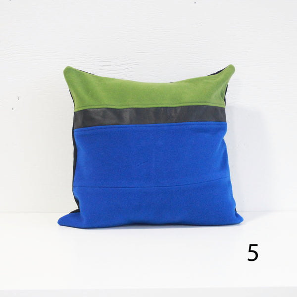 Upcycled Pillow Covers - Blue and Forest Green