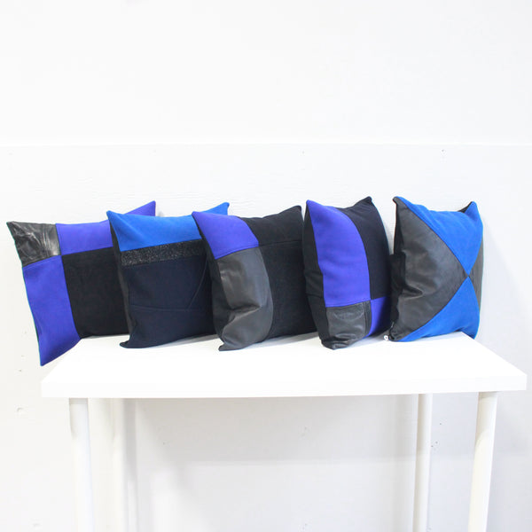 Upcycled Pillow Covers -Blue & Black