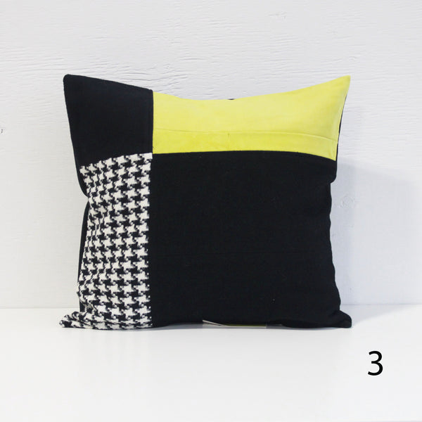 Upcycled Pillow Covers - Blue & Yellow with Houndstooth