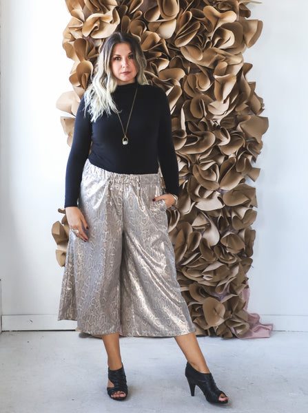 Snakeskin Wide Leg Pants