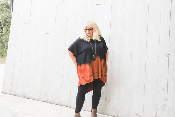 Lizzy Long Tunic Top -Black/Copper Ombre