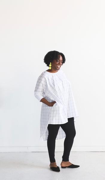 Leah Long Tunic - White Windowpane