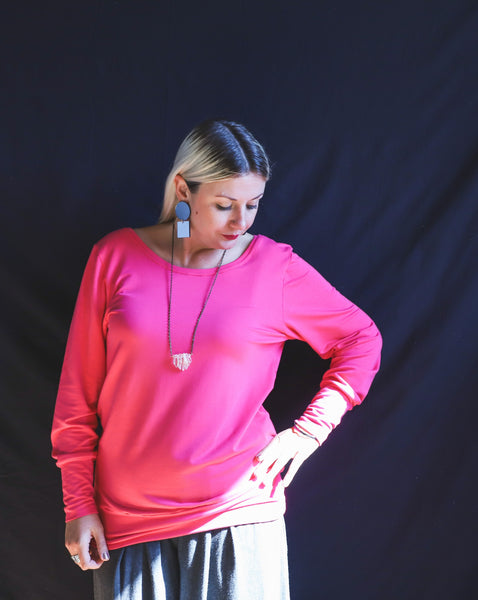 Melissa Long Sweater -Fuchsia