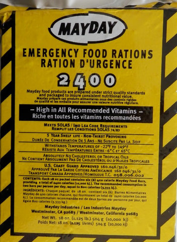 Mayday emergency 2400 calorie food bar good ideas for life for Food bar emergency