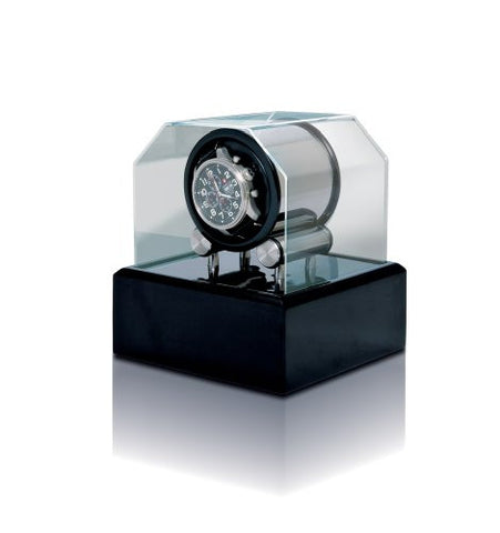 Orbita Futura Single Watch Winder In Black Lacquer With Acrylic Lid