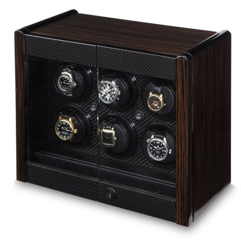 Orbita Avanti 6 Watch Winder In Macassar/Carbon Fiber