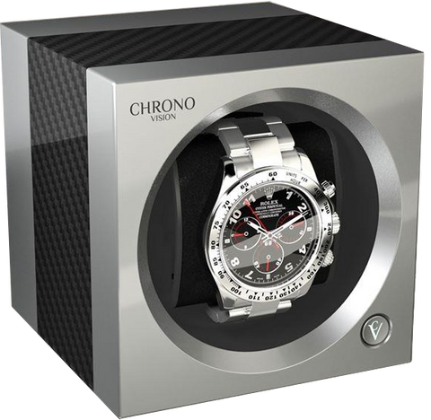 Chronovision 1 Single-Unit Watch Winder in Carbon & Chrome Silk