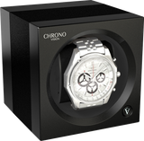 Chronovision 1 Single-Unit Watch Winder in Black Anodized & Black Silk