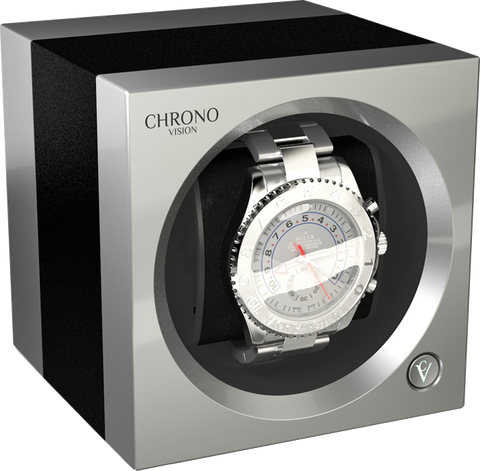 Chronovision 1 Single-Unit Watch Winder in Black Anodized & Chrome Silk