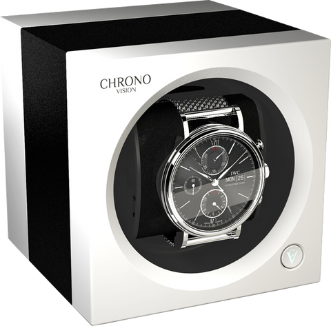 Chronovision 1 Single-Unit Watch Winder in Black Anodized & White Silk
