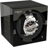 Chronovision 1 Single-Unit Watch Winder in Argento Gloss & Black Gloss