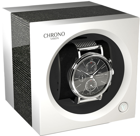 Chronovision 1 Single-Unit Watch Winder in Argento Gloss & White Silk