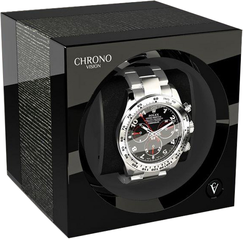 Chronovision One Watch Winder in Argento High Gloss and Black High Gloss