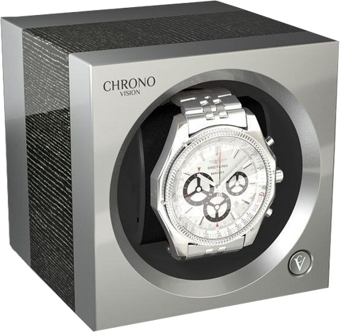 Chronovision 1 Single-Unit Watch Winder in Argento Gloss & Chrome Silk