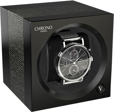 Chronovision 1 Single-Unit Watch Winder in Argento Silk & Black Silk