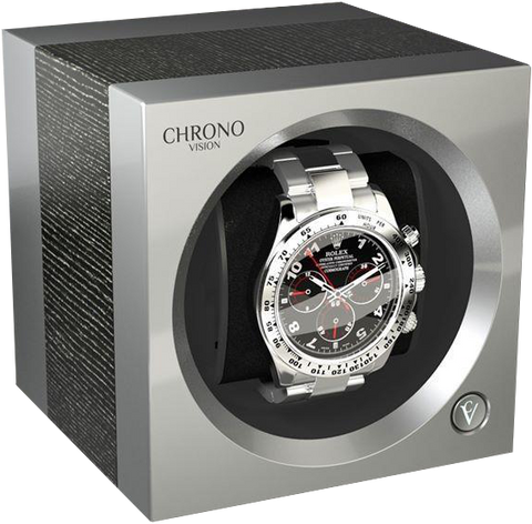 Chronovision 1 Single-Unit Watch Winder in Argento Silk & Chrome Silk