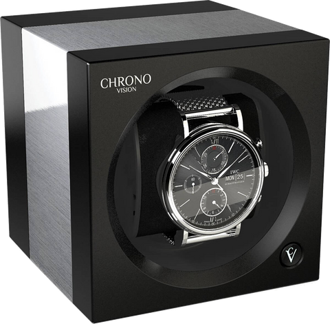 Chronovision 1 Single-Unit Watch Winder in Aluminum & Black Silk