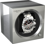 Chronovision 1 Single-Unit Watch Winder in Aluminum & Chrome Silk