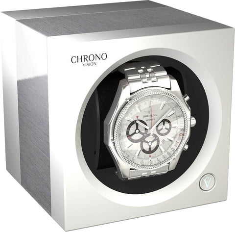 Chronovision 1 Single-Unit Watch Winder in Aluminum & White Silk
