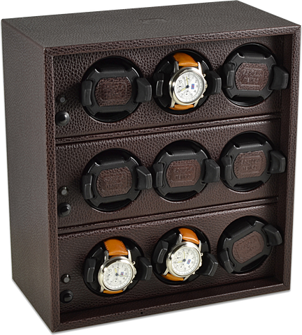 Scatola del Tempo Cornice 9RTOS 9-Unit Watch Winder in Brown Leather Grain