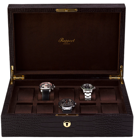 Rapport 10-Unit Brompton Watch Box in Brown Croco L265