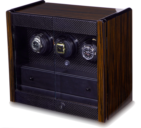 Orbita Avanti 3-Unit Watch Winder In Macassar