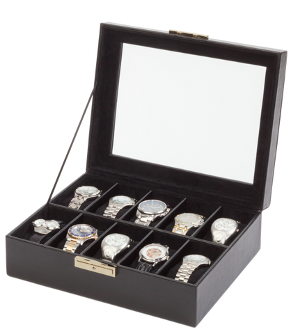Orbita Roma 10-Unit Watch Case In Black Leather