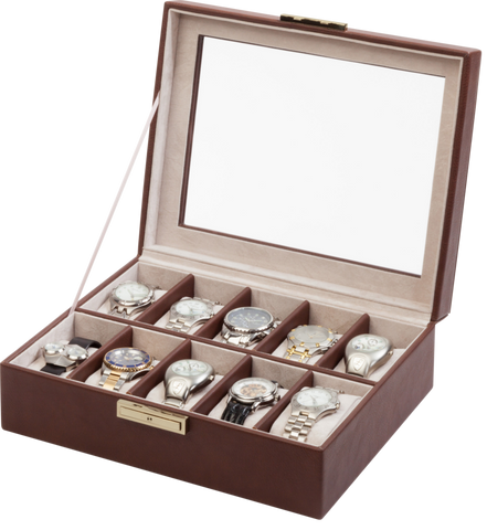 Orbita Roma 10-Unit Watch Case In Chocolate Leather