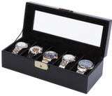 Orbita Roma 5-Unit Watch Case In Black Leather