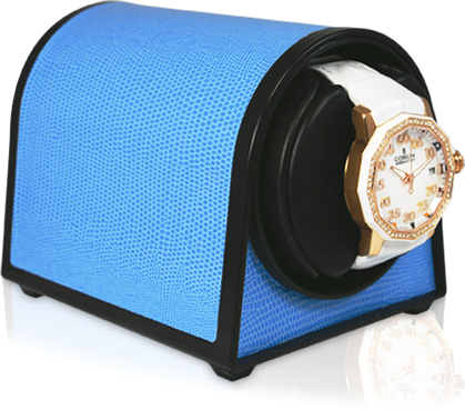 Orbita Sparta Mini Single-Unit Watch Winder In Blue Leatherette