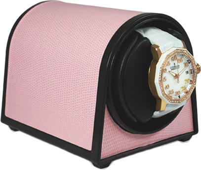 Orbita Sparta Mini Single-Unit Watch Winder In Pink Leatherette