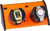 Orbita Sparta 2-Unit  Watch Winder in Vibrant Orange
