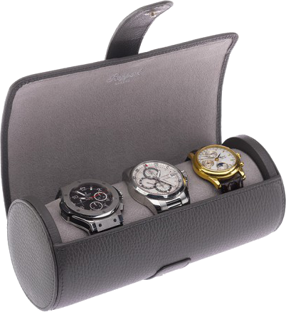 Rapport Berkeley Watch Roll Triple in Grey Leather D182