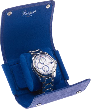 Rapport Berkeley Watch Roll Single in Blue Leather D193