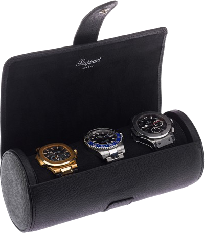 Rapport Berkeley Watch Roll Triple in Black Leather D180